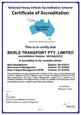 Accreditation and Compliance - National Heavy Vehicle Accreditation Scheme Certificate of Accreditation